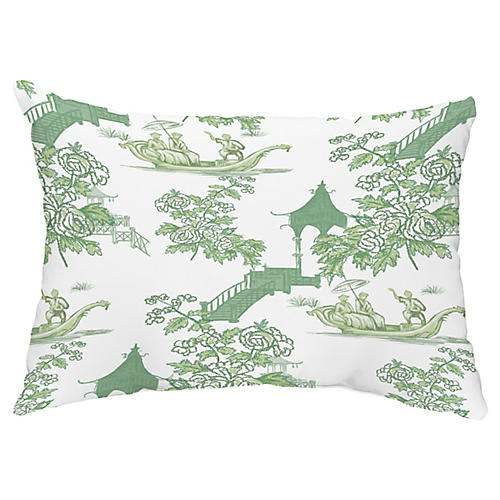 Floral Chinoiserie 14x20 Lumbar Pillow, Green