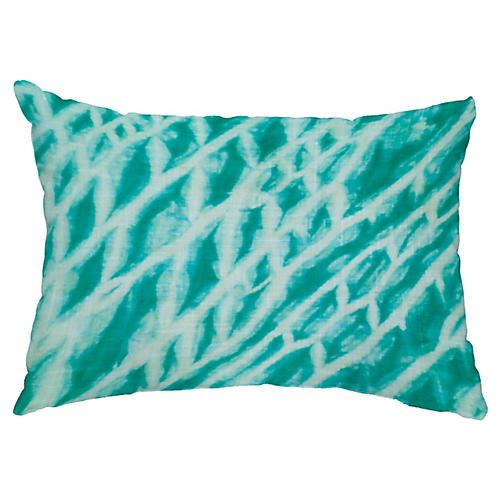 Shibori 14x20 Lumbar Pillow, Aqua
