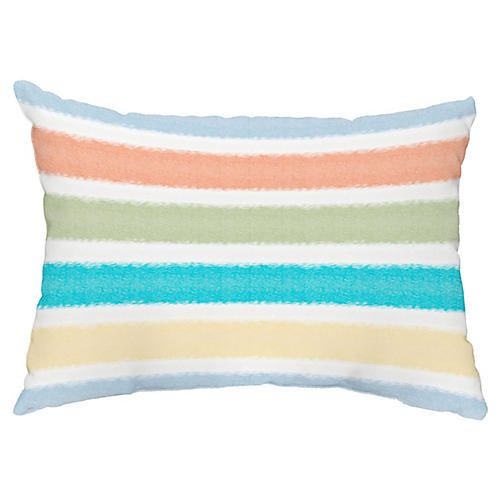 Beach Shack Stripe 14x20 Lumbar Pillow, Light Blue