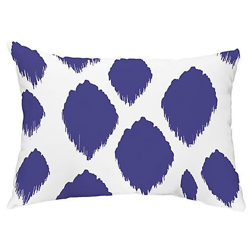 Ikat Dots 14x20 Lumbar Pillow, Royal Blue