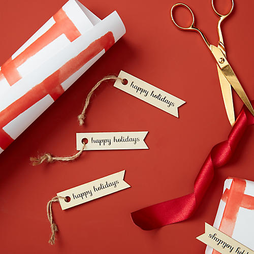 S/12 Happy Holidays Wooden Gift Tags