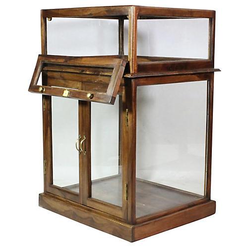 Havana Square Display Cabinet, Brown