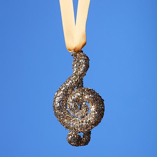 Treble Clef Ornament, Gold