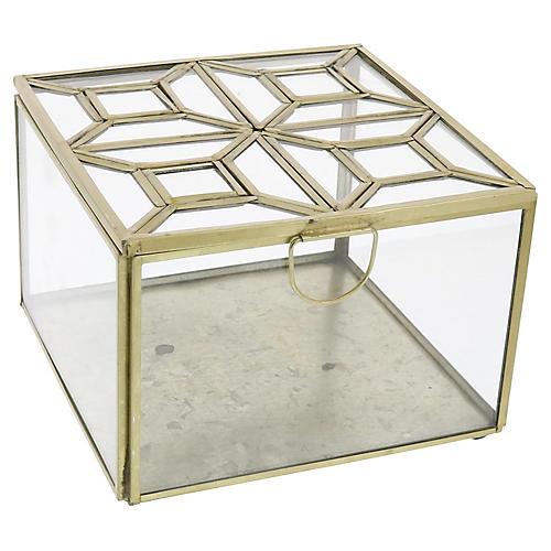 "6"" Milton Square Geo Box, Brass"