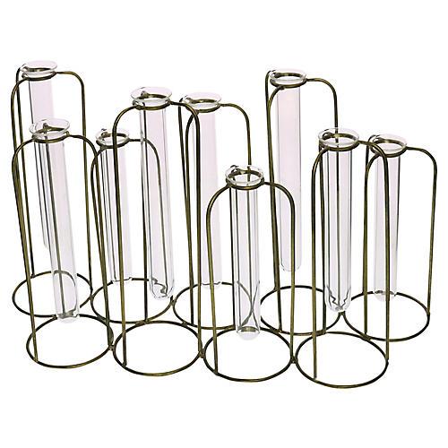 "15"" Arago Cluster Vase, Clear/Brass"
