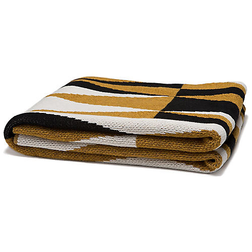 Right Angles Outdoor Recycled Cotton Throw, Dijon/Black