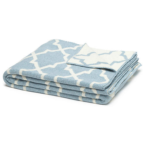 Morocco Reversible Throw, Blue Pond