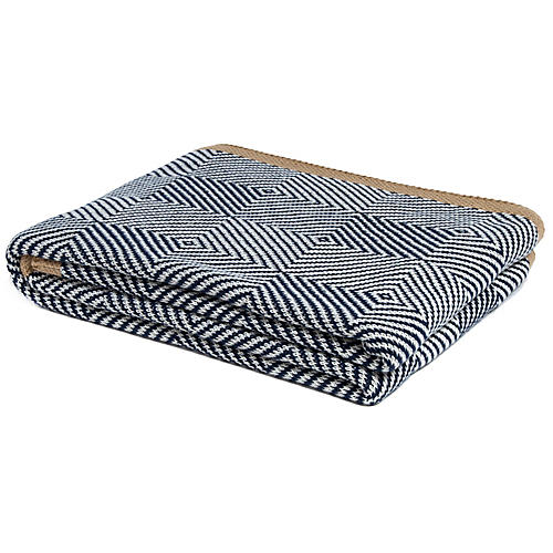 Woven Square Outdoor Throw, Navy