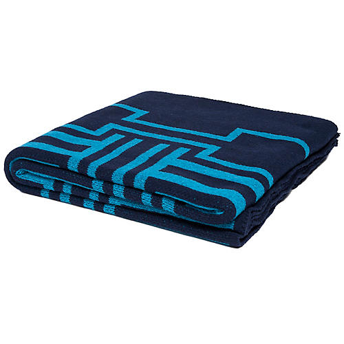 Illusions Outdoor Throw, Marine/Teal
