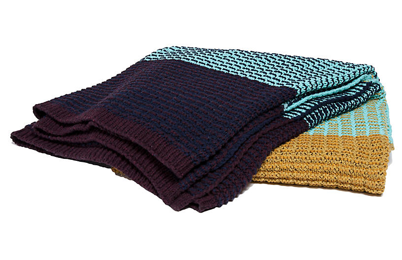 Stitch Stripe Throw, Blue/Straw
