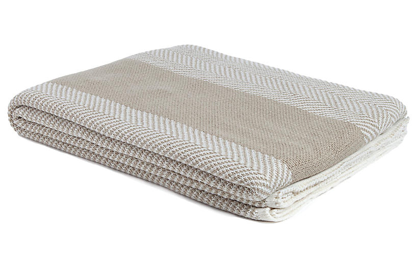 Herringbone Outdoor Throw, Camel