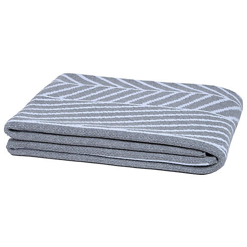 Double Stripe Throw, Gray/White