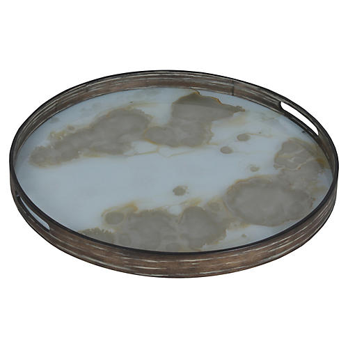 "19"" Rich Mist Decorative Tray, Gold"