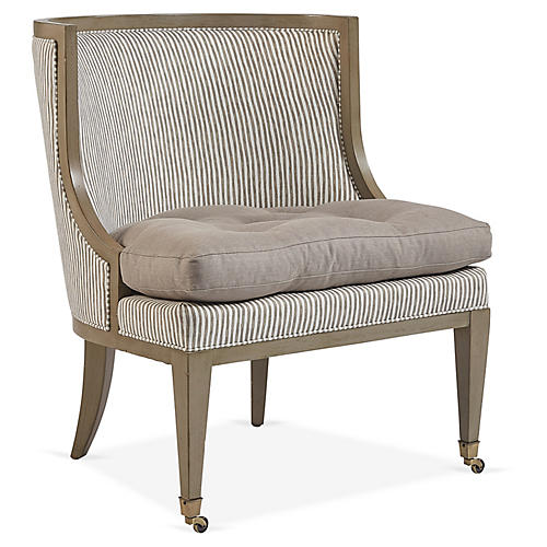 Cedric Accent Chair, Tan/Natural Stripe