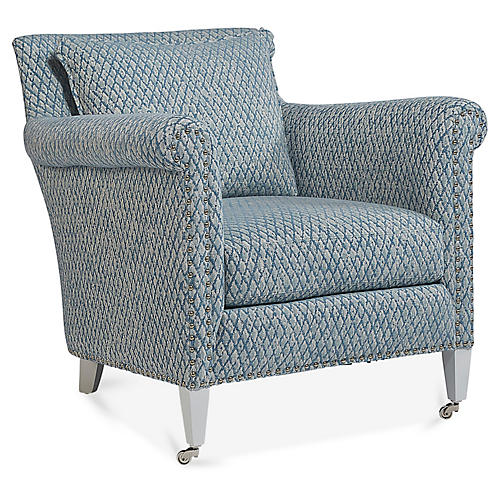 Paris Accent Chair, Blue/Ivory