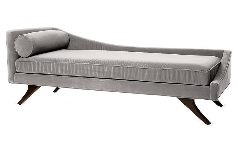Sansa Right-Arm Chaise, Light Gray Velvet