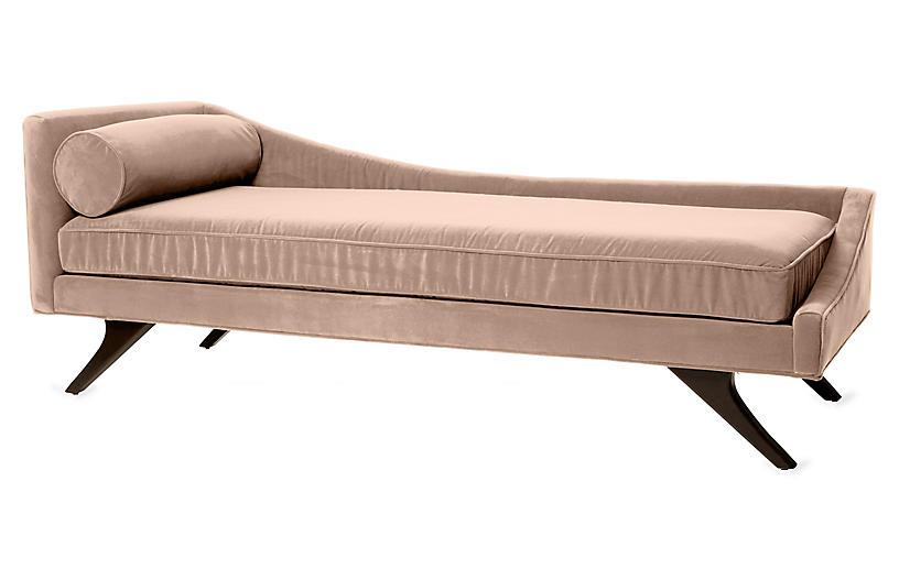 Sansa Right-Arm Chaise, Blush Velvet