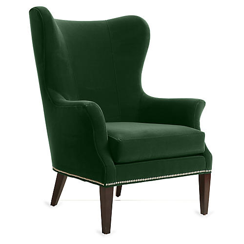 Tristen Wingback Chair, Emerald Velvet