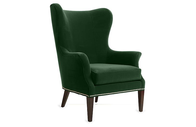 Tristen Wingback Chair Emerald Velvet, Green Velvet Wing Chair
