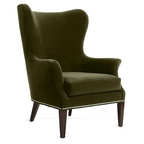 Tristen Wingback Chair, Moss Velvet