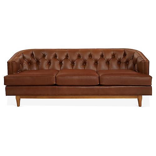 Emma Chesterfield Sofa, Cinnamon Leather