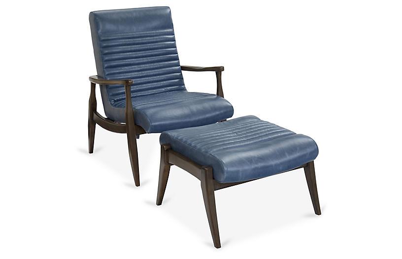 Erik Accent Chair & Ottoman Set, Adriatic