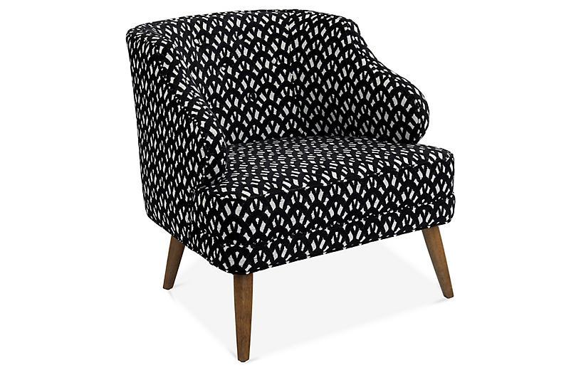 Courtney Accent Chair, Black/White