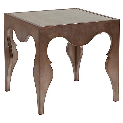 Van Cleef Side Table, Silver Leaf