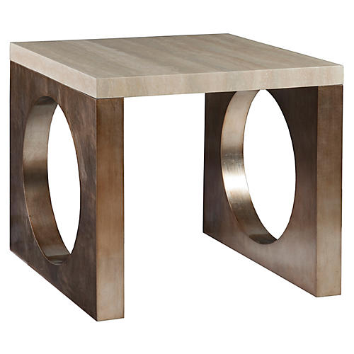 Impresario Side Table, Silver Leaf