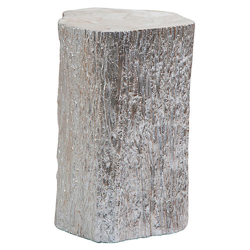 Trunk Segment Tall Side Table, Silver Leaf