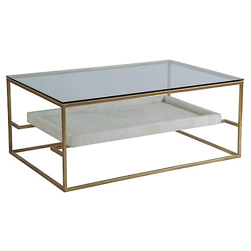 Cumulus Rectangular Coffee Table, White/Gold