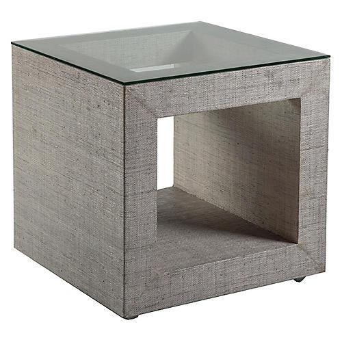 Precept Square Raffia Side Table, Light Gray