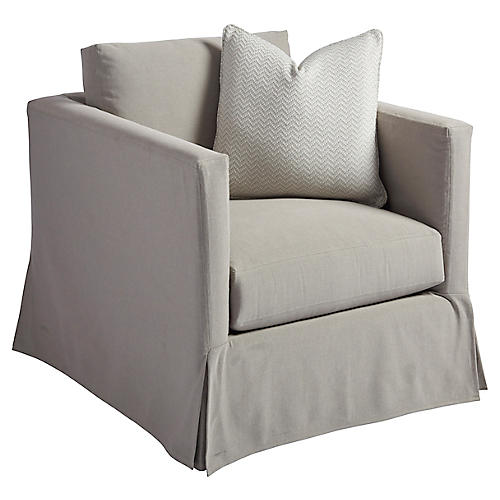 Marina Slipcovered Swivel Chair, Gray