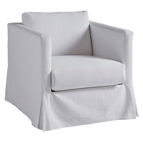 Marina Slipcovered Chair, White