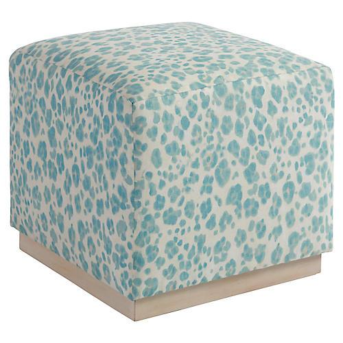 Colby Cube, Aqua Spot Linen
