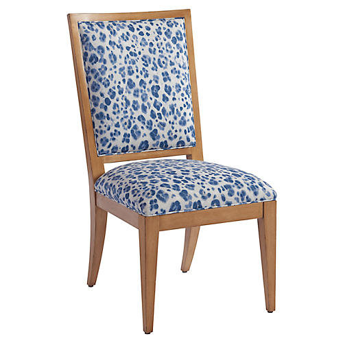 Eastbluff Side Chair, Blue/Ivory Linen