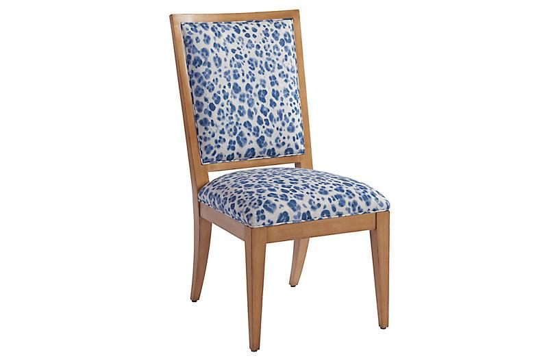 Eastbluff Side Chair, Blue/Ivory Linen