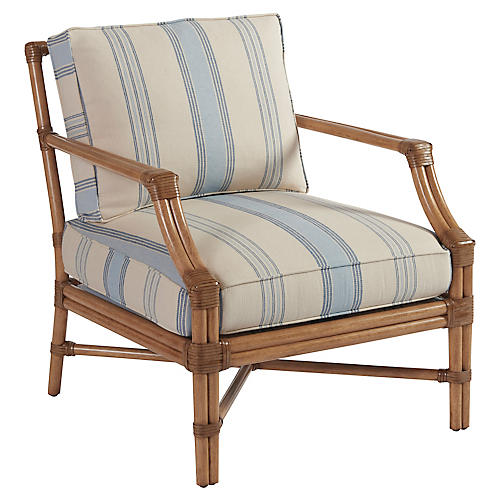 Redondo Accent Chair, Blue Stripe
