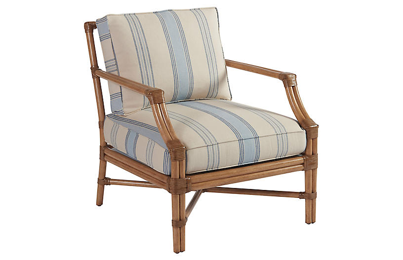 Redondo Accent Chair, Blue Stripe