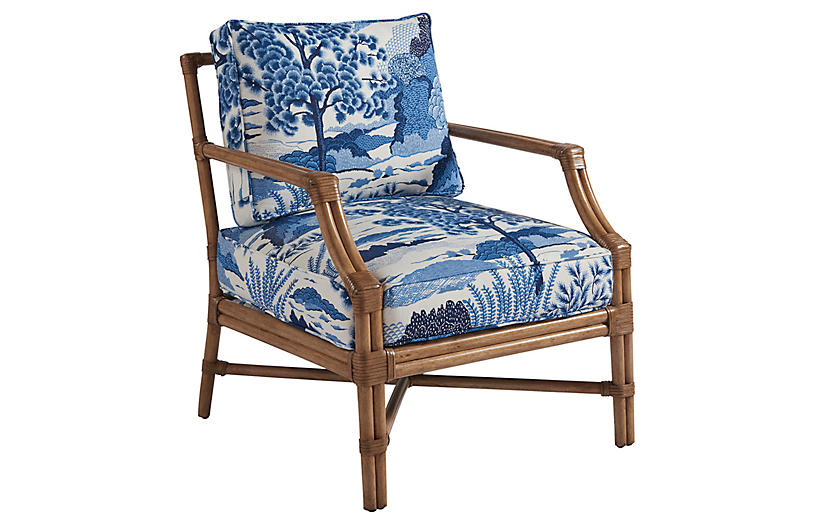 Redondo Accent Chair, Blue Chinoiserie Linen