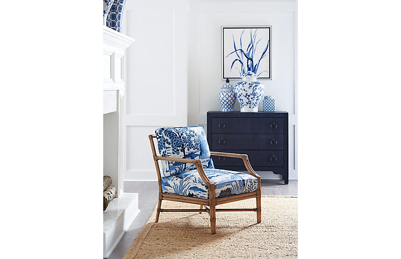 Barclay Butera Redondo Accent Chair Blue Chinoiserie