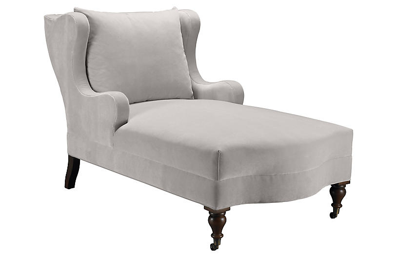 Montclaire Chaise, Light Gray Velvet