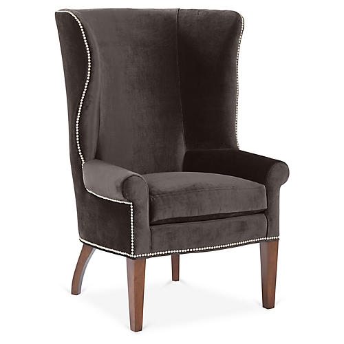 Throwback Wingback Chair, Charcoal Velvet