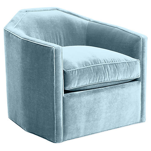 Speakeasy Swivel Club Chair, Sky Blue Velvet