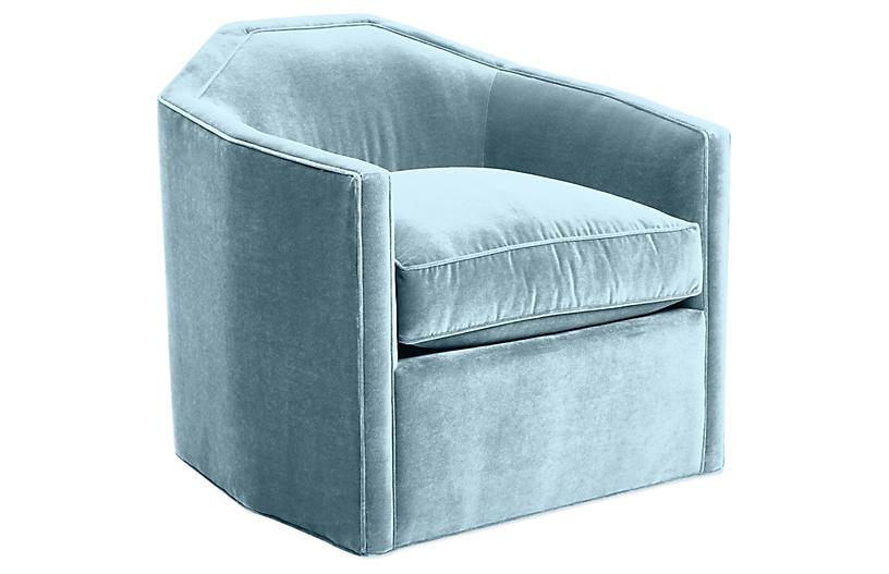 Speakeasy Swivel Club Chair, Sky Blue Velvet