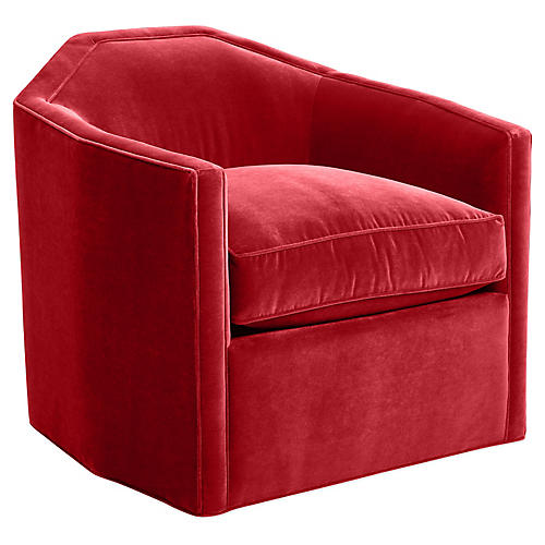 Speakeasy Swivel Glider Chair, Cinnabar Velvet