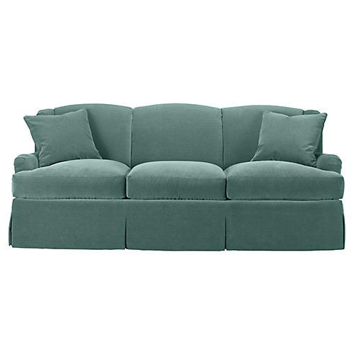 Skirted Lounge Sofa, Jade Velvet
