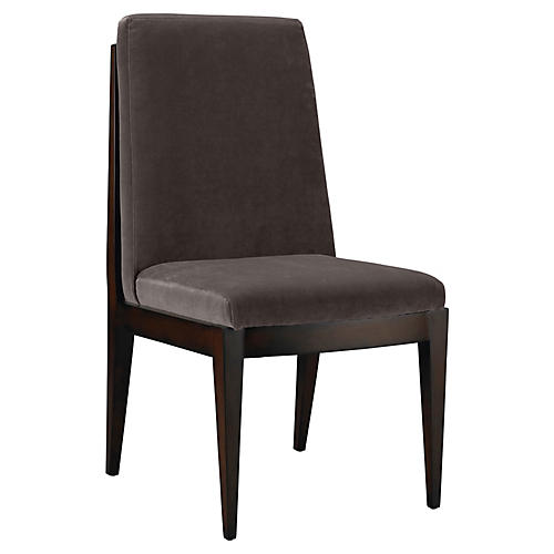Livingston Side Chair, Charcoal Velvet