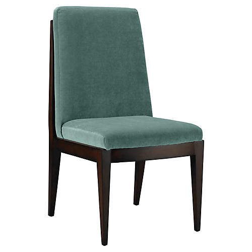 Livingston Side Chair, Jade Velvet