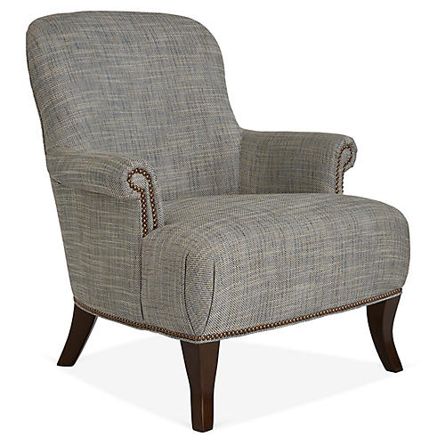 Nellies Club Chair, Blue/Gray